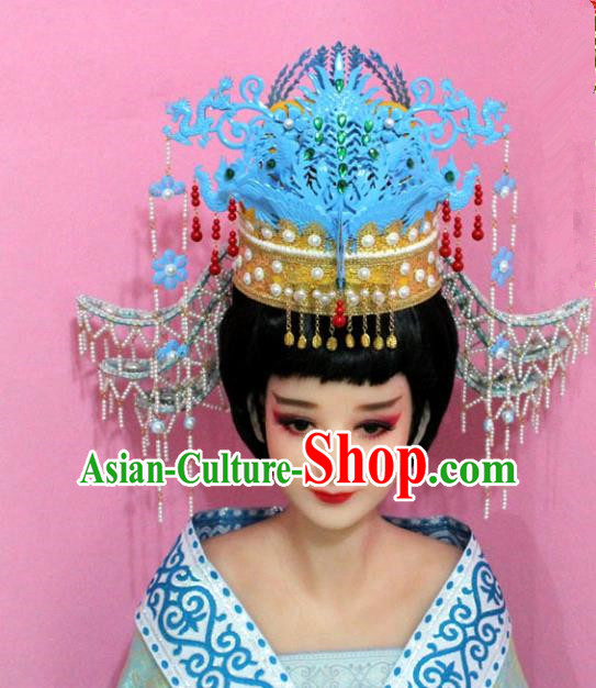 Traditional Handmade Chinese Hair Accessories Palace Lady Blue Phoenix Coronet Complete Set, Empress Hair Jewellery Hairpins for Women
