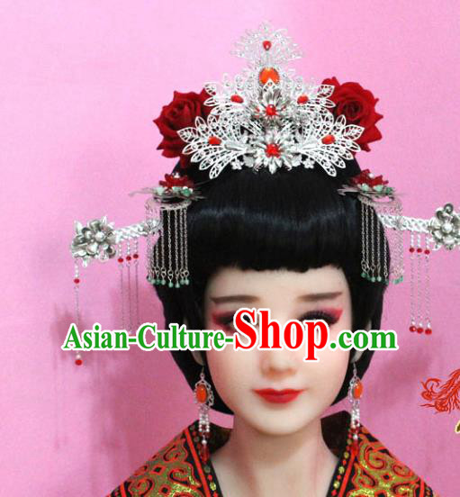 Traditional Handmade Chinese Hair Accessories Palace Lady Tassel Phoenix Coronet Complete Set, Xiuhe Suit Hair Jewellery Hairpins for Women