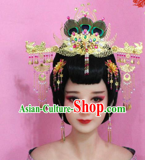 Traditional Handmade Chinese Hair Accessories Palace Lady Tassel Phoenix Coronet Complete Set, Xiuhe Suit Princess Step Shake Hairpins for Women