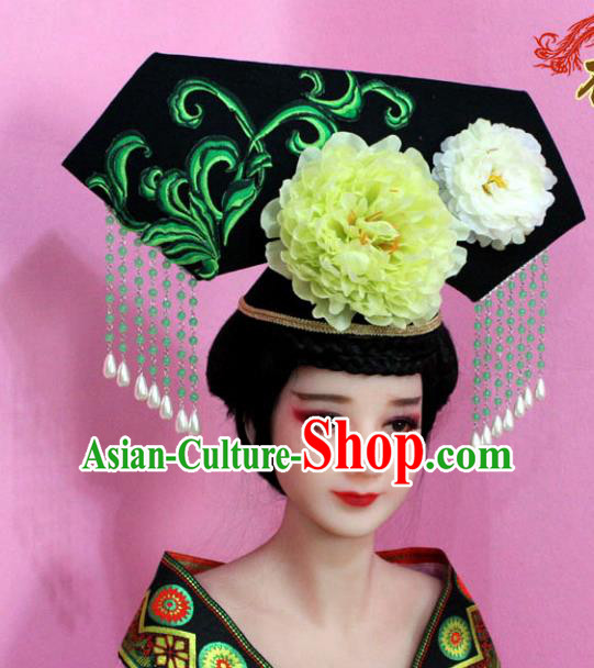 Traditional Handmade Chinese Hair Accessories Qing Dynasty Palace Lady Empress Headwear, Manchu Princess Flowers Hairpins for Women