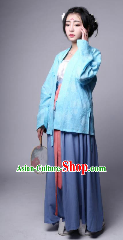 Traditional Chinese Ancient Hanfu Princess Costume, Asian China Song Dynasty Young Lady Embroidered Blouse and Skirts for Women