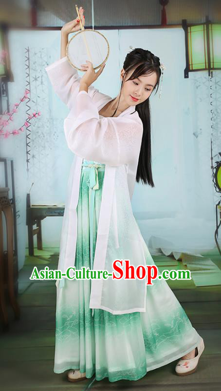 Traditional Chinese Ancient Hanfu Princess Costume, Asian China Song Dynasty Young Lady Embroidered Green Slip Skirts for Women