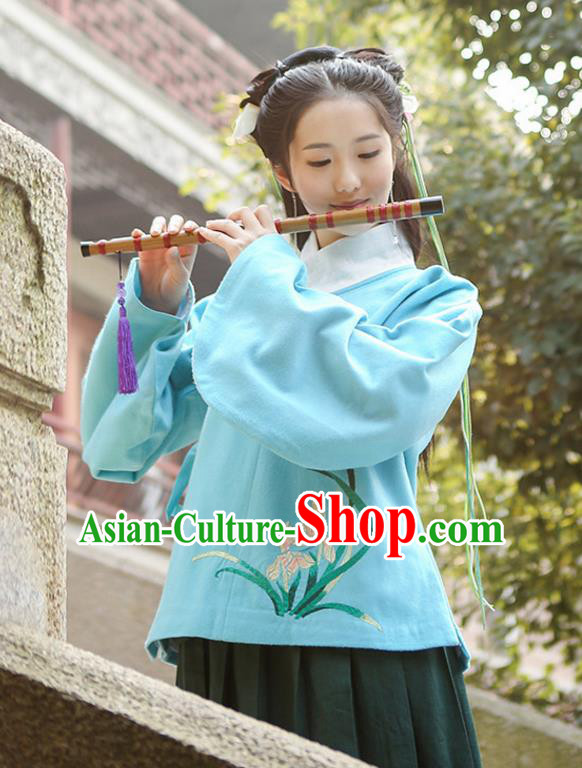 Traditional Chinese Ancient Hanfu Princess Costume Upper Outer Garment, Asian China Ming Dynasty Young Lady Embroidered Orchid Blue Blouse for Women