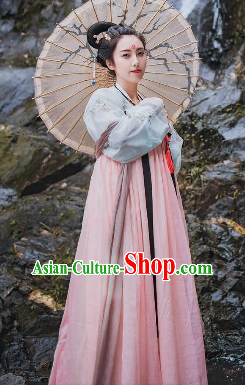 Traditional Chinese Ancient Palace Lady Costume, Asian China Tang Dynasty Princess Embroidered Pink Dress Clothing for Women