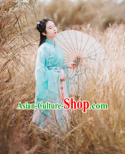 Traditional Chinese Ancient Palace Lady Costume, Asian China Tang Dynasty Princess Embroidered Blouse and Slip Skirts Clothing for Women