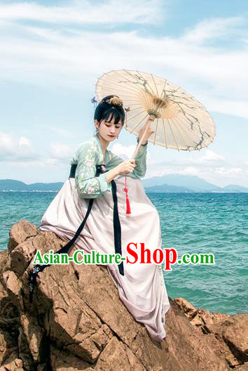 Traditional Chinese Ancient Palace Lady Costume, Asian China Tang Dynasty Princess Embroidered Green Blouse and Pink Slip Skirt for Women