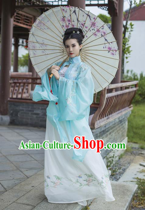 Traditional Chinese Ancient Palace Lady Costume, Asian China Ming Dynasty Princess Embroidered Blue Blouse Cloak for Women