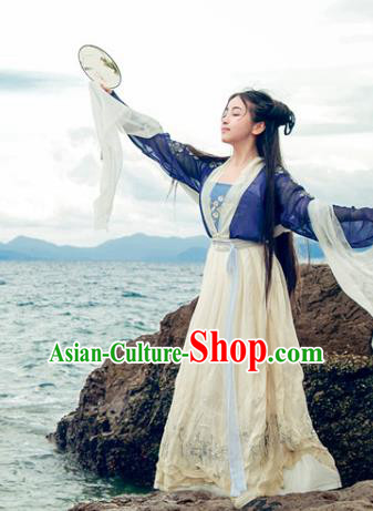 Traditional Chinese Ancient Palace Lady Costume, Asian China Song Dynasty Princess Embroidered Blue Blouse and Skirts for Women
