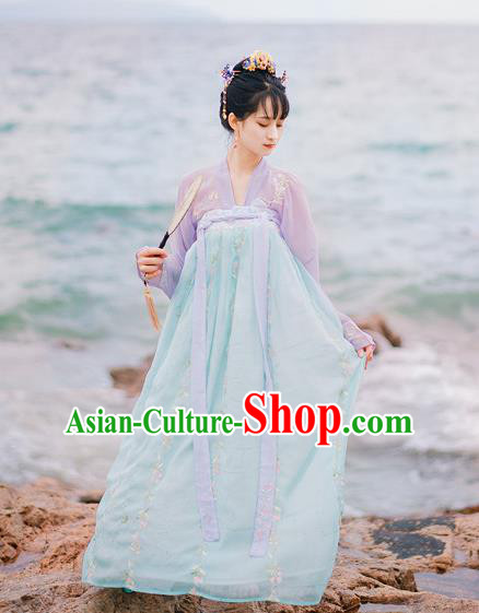 Traditional Chinese Ancient Palace Lady Costume, Asian China Tang Dynasty Princess Embroidered Pink Blouse and Blue Skirts for Women