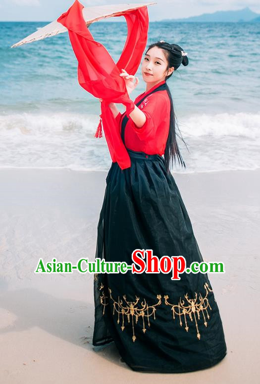 Traditional Chinese Ancient Palace Lady Costume, Asian China Song Dynasty Princess Embroidered Red Blouse and Black Skirts for Women