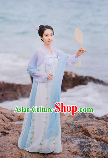 Traditional Chinese Ancient Palace Lady Costume, Asian China Tang Dynasty Princess Embroidered Blouse and Skirts for Women