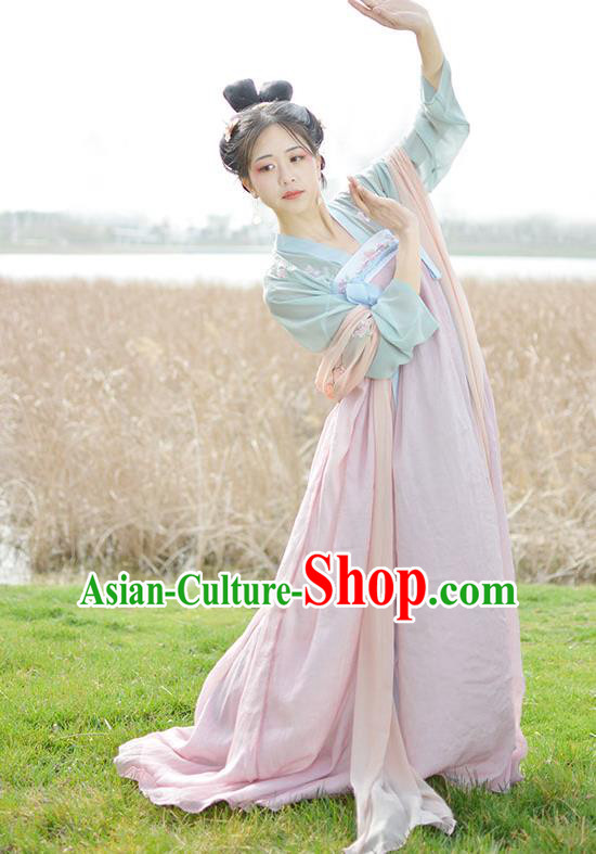 Traditional Chinese Ancient Palace Lady Costume, Asian China Tang Dynasty Imperial Concubine Pink Dress Clothing for Women