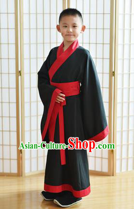 Traditional Chinese Ancient Costume, Asian China Han Dynasty Black Clothing for Men