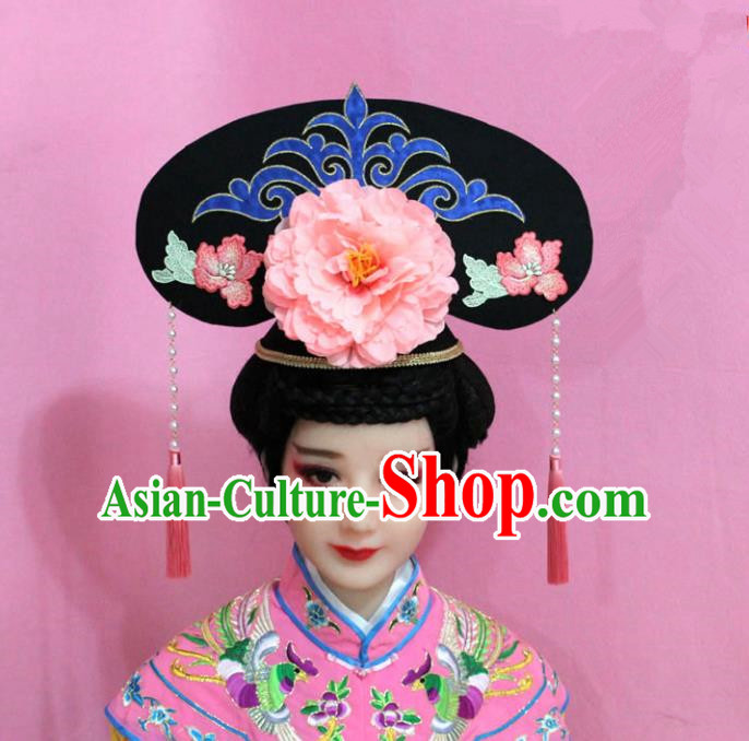 Traditional Handmade Chinese Hair Accessories Qing Dynasty Palace Lady Light Pink Peony Headwear, Manchu Imperial Concubine Hairpins for Women