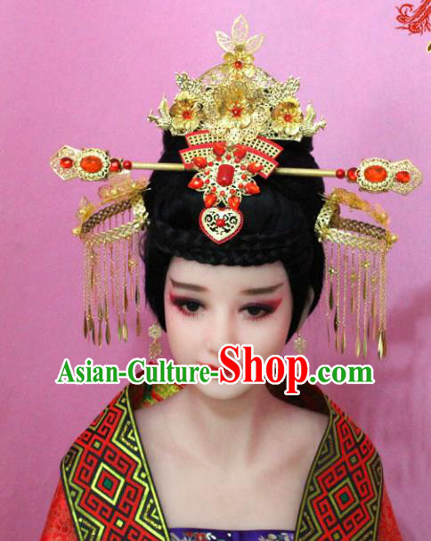 Traditional Handmade Chinese Hair Accessories Empress Phoenix Coronet, Tang Dynasty Palace Lady Step Shake Hairpins for Women