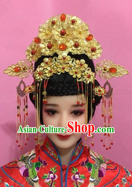 Traditional Handmade Chinese Hair Accessories Empress Golden Phoenix Coronet, China Xiuhe Suit Palace Lady Tassel Step Shake Hairpins for Women