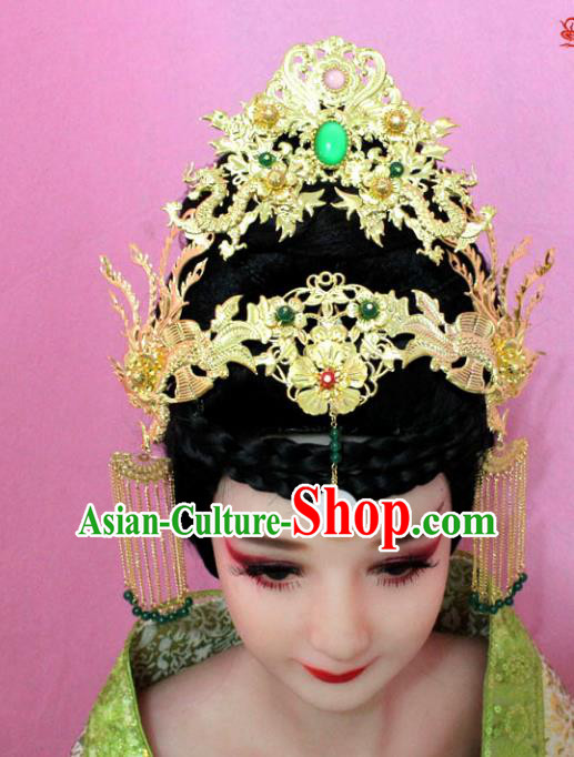 Traditional Handmade Chinese Hair Accessories Empress Phoenix Coronet, China Palace Lady Tassel Step Shake Hairpins for Women