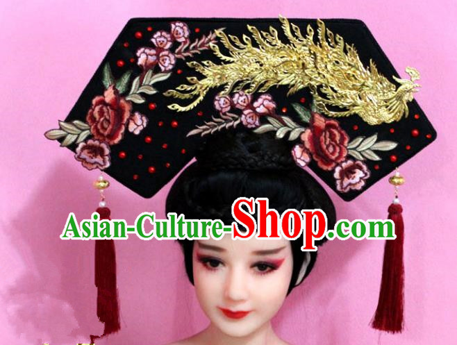 Traditional Handmade Chinese Hair Accessories Qing Dynasty Empress Banners Peony Phoenix Headwear, Manchu Imperial Concubine Hairpins for Women