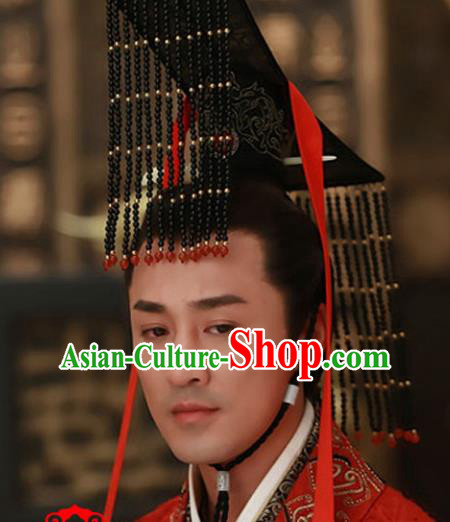 Traditional Handmade Chinese Hair Accessories Qin Dynasty Emperor Headwear, China Ancient Majesty Tassel Hats for Men
