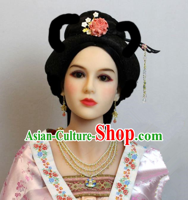 Traditional Handmade Chinese Hair Accessories Palace Lady Tassel Hairpins Complete Set, China Tang Dynasty Princess Headwear for Women