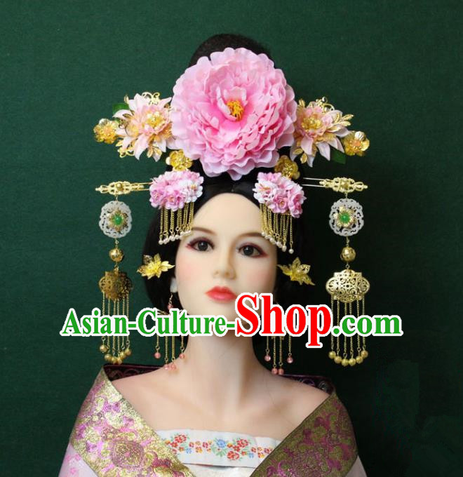Traditional Handmade Chinese Hair Accessories Palace Lady Phoenix Coronet Peony Hairpins Complete Set, China Tang Dynasty Princess Headwear for Women