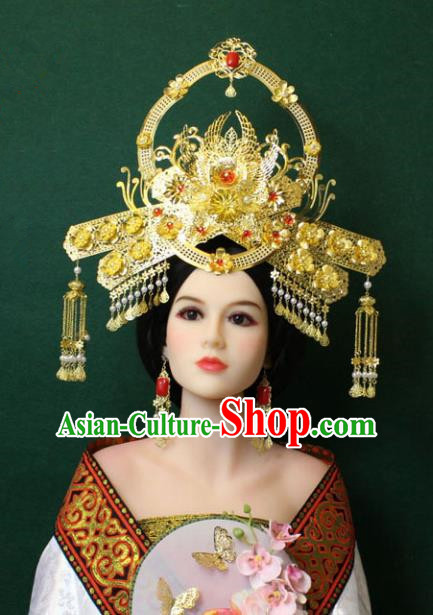 Traditional Handmade Chinese Hair Accessories Empress Tassel Phoenix Coronet Hairpins Complete Set, China Tang Dynasty Princess Headwear for Women