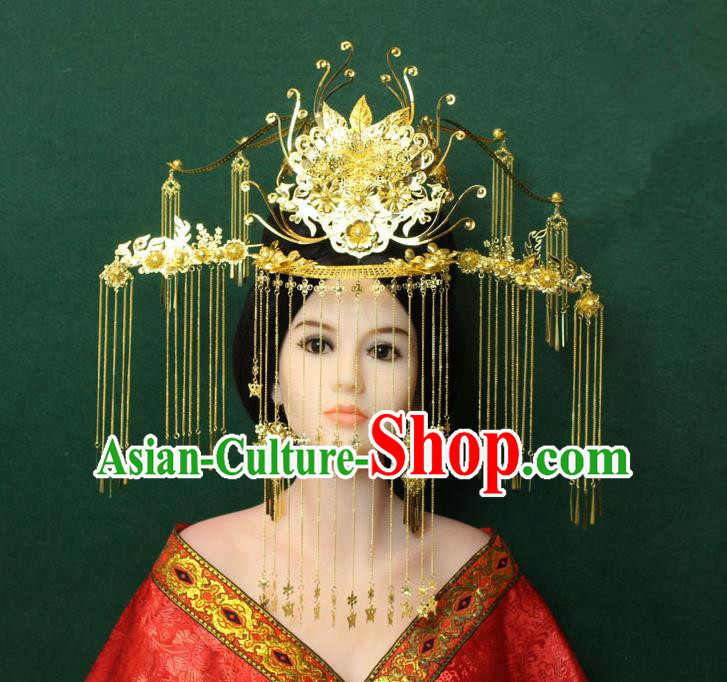 Traditional Handmade Chinese Hair Accessories Tang Dynasty Empress Tassel Phoenix Coronet Hairpins Complete Set, China Step Shake Headwear for Women