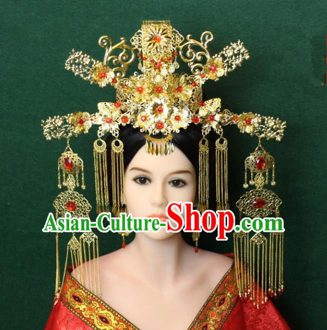 Traditional Handmade Chinese Hair Accessories Tang Dynasty Empress Tassel Hairpins Complete Set, China Palace Step Shake Headwear for Women