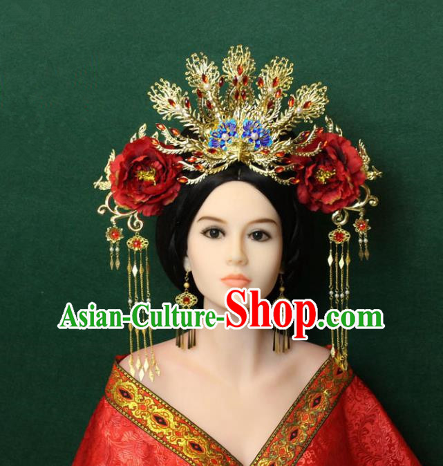 Traditional Handmade Chinese Hair Accessories Tang Dynasty Empress Red Peony Hairpins Complete Set, China Palace Phoenix Coronet Step Shake Headwear for Women