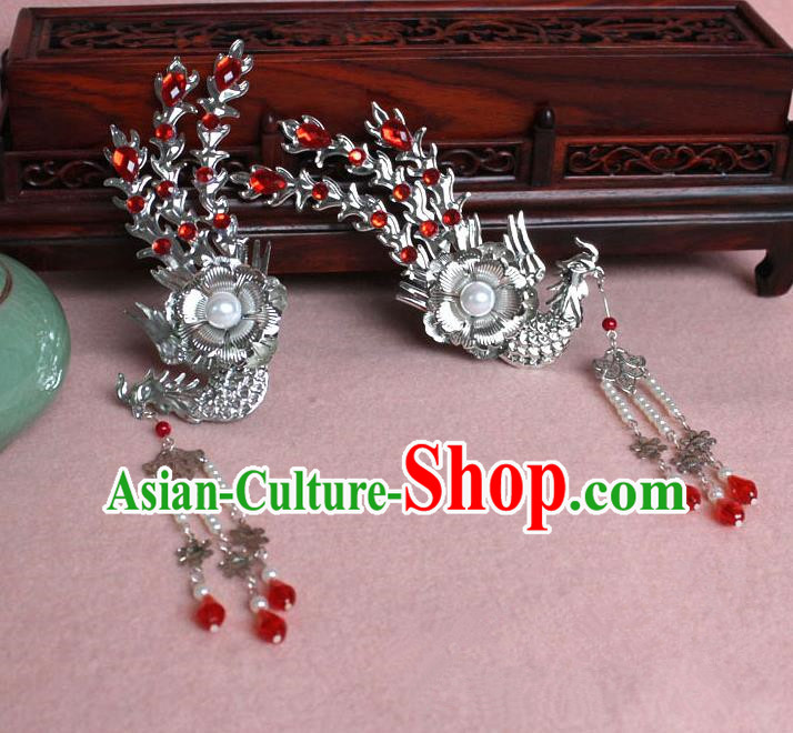 Traditional Handmade Chinese Hair Accessories Princess Red Phoenix Hairpins, Tang Dynasty Palace Lady Tassel Step Shake for Women