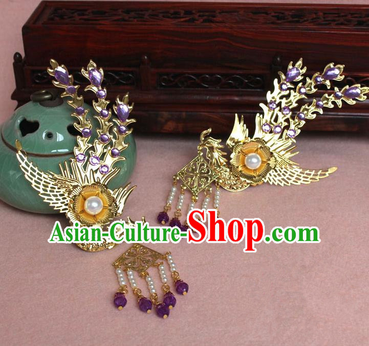 Traditional Handmade Chinese Hair Accessories Princess Golden Phoenix Hairpins, Ming Dynasty Palace Lady Purple Tassel Step Shake Frontlet for Women