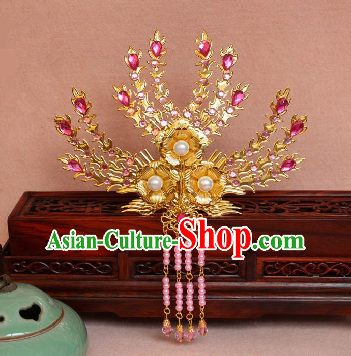Traditional Handmade Chinese Hair Accessories Princess Golden Phoenix Frontlet Hairpins, Ming Dynasty Palace Lady Pink Tassel Step Shake for Women