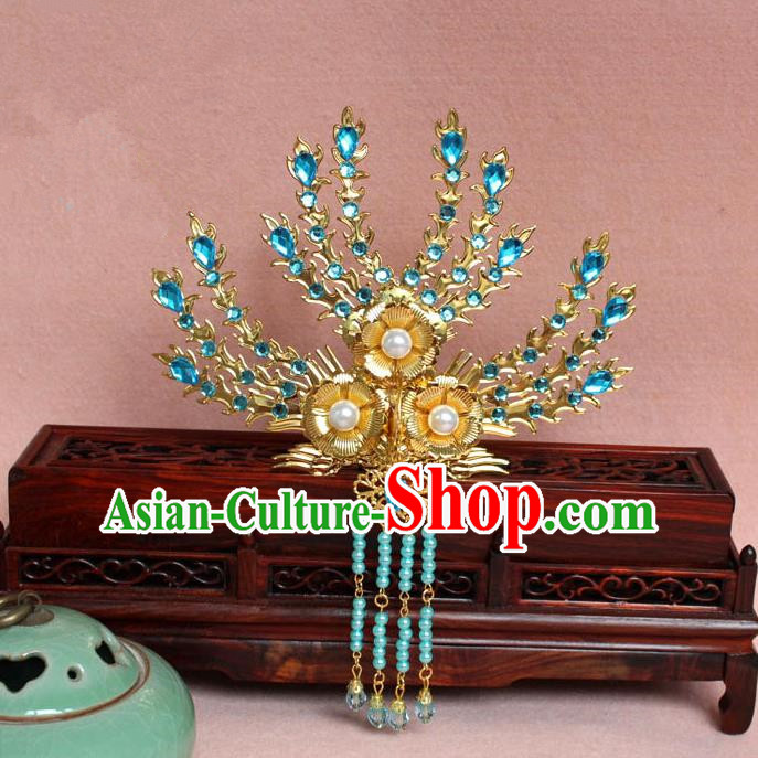 Traditional Handmade Chinese Hair Accessories Princess Golden Phoenix Frontlet Hairpins, Ming Dynasty Palace Lady Blue Tassel Step Shake for Women