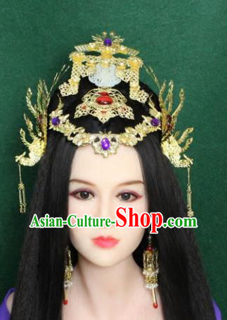 Traditional Handmade Chinese Hair Accessories Empress Headpiece, Han Dynasty Princess Phoenix Hairpins Headwear for Women