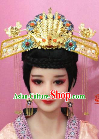 Traditional Handmade Chinese Hair Accessories Palace Lady Empress Headwear, Ming Dynasty Imperial Queen Tassel Step Shake Hairpins for Women