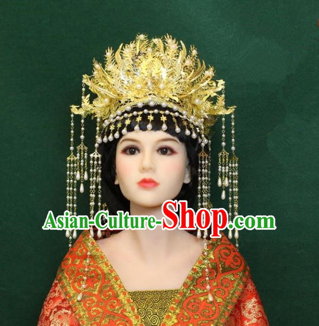 Traditional Handmade Chinese Hair Accessories Wedding Phoenix Coronet, Han Dynasty Princess Hairpins Headwear for Women