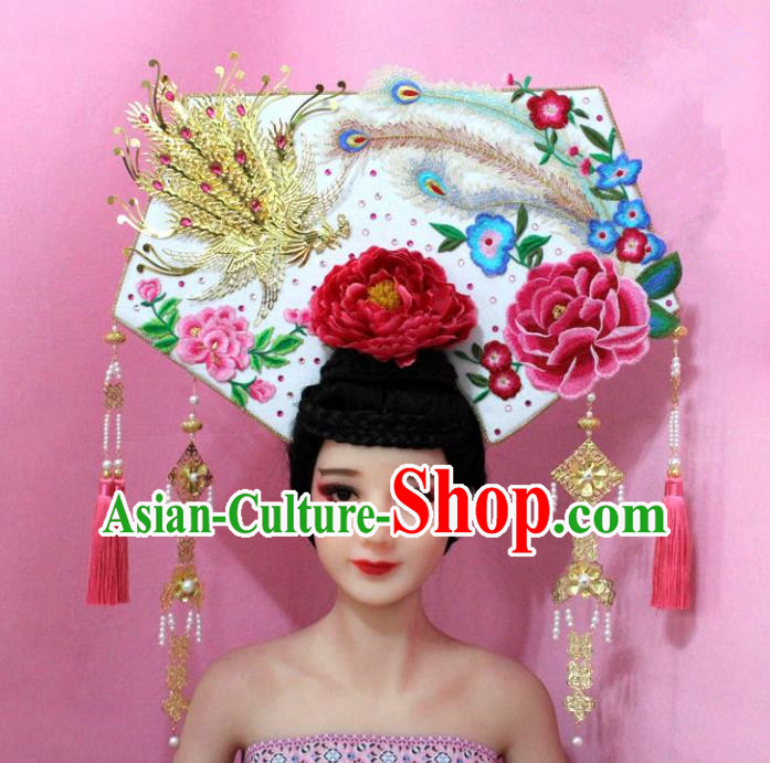 Traditional Handmade Chinese Hair Accessories Qing Dynasty Empress Banners Tassel Headwear, Manchu Imperial Concubine Hairpins for Women