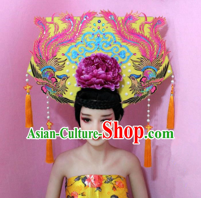 Traditional Handmade Chinese Hair Accessories Qing Dynasty Empress Banners Tassel Phoenix Headwear, Manchu Imperial Concubine Hairpins for Women