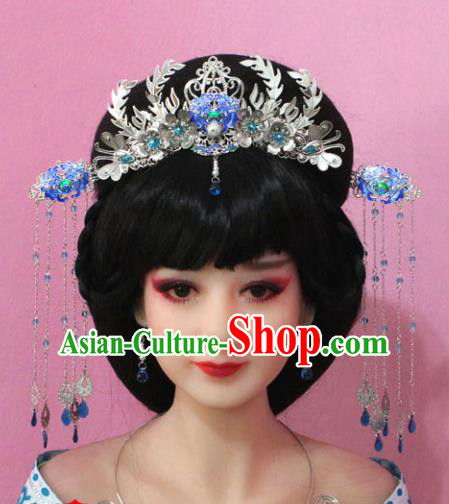 Traditional Handmade Chinese Hair Accessories Empress Cloisonne Phoenix Coronet, China Tang Dynasty Hairpins Step Shake Complete Set for Women