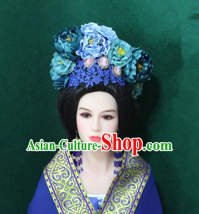 Traditional Handmade Chinese Hair Accessories Blue Lace Flowers Phoenix Coronet, China Tang Dynasty Tassel Hairpins Complete Set for Women