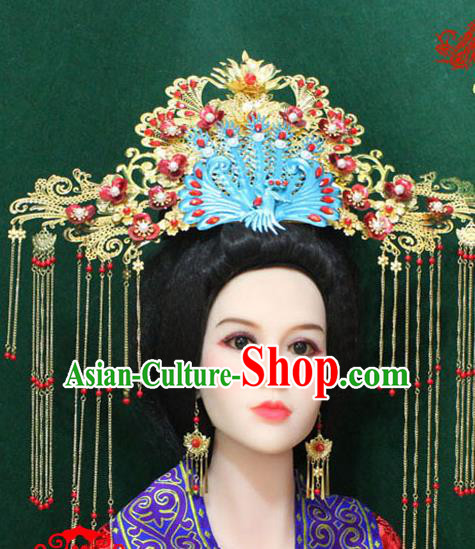Traditional Handmade Chinese Hair Accessories Tang Dynasty Empress Phoenix Coronet, China Ancient Tassel Hairpins Complete Set for Women