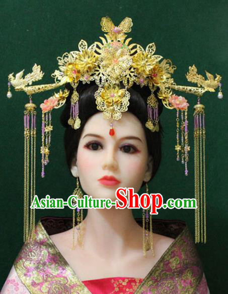 Traditional Handmade Chinese Hair Accessories Tang Dynasty Empress Phoenix Coronet Royal Queen Hairpins Headwear Complete Set for Women
