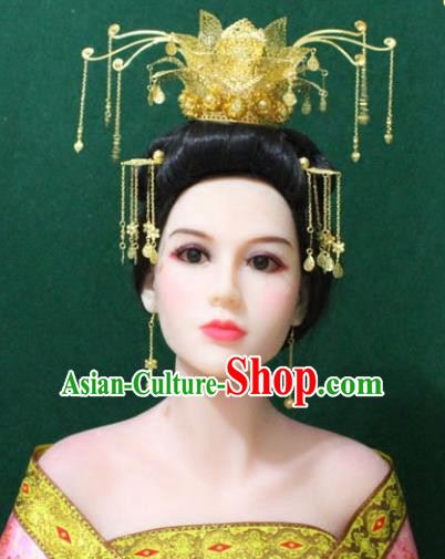 Traditional Handmade Chinese Hair Accessories Tang Dynasty Lotus Phoenix Coronet Royal Queen Hairpins Complete Set for Women