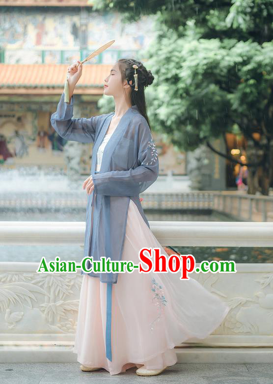 Traditional Chinese Ancient Hanfu Young Lady Costume, Asian China Song Dynasty Princess Embroidery Blouse and Pants Complete Set