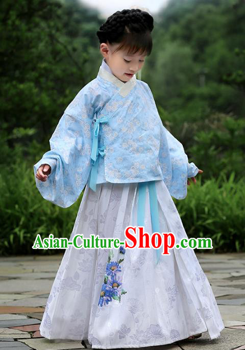 Asian China Ancient Ming Dynasty Children Costume Complete Set, Traditional Chinese Princess Embroidered Blouse and Skirts for Kids