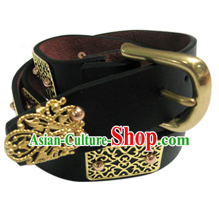 Traditional Handmade Chinese Accessories Tang Dynasty Emperor Belts, China Majesty Leather Waistband for Men