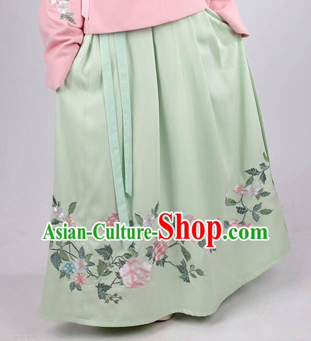 Asian Chinese Ming Dynasty Princess Costume Embroidery Green Skirts, Ancient China Palace Lady Embroidered Dress for Women