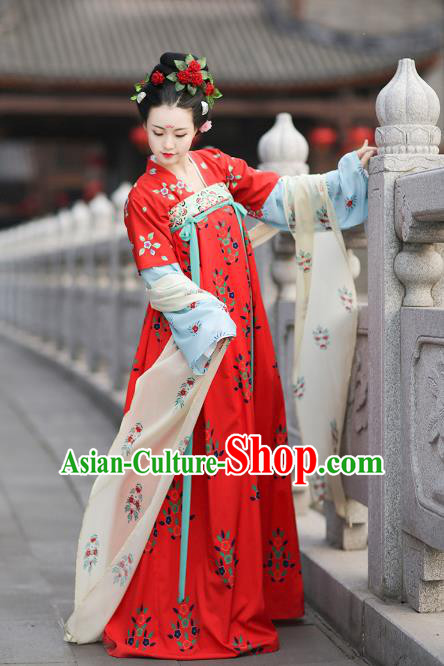 Traditional Chinese Ancient Hanfu Costume Complete Set, Asian China Tang Dynasty Princess Embroidered Clothing for Women