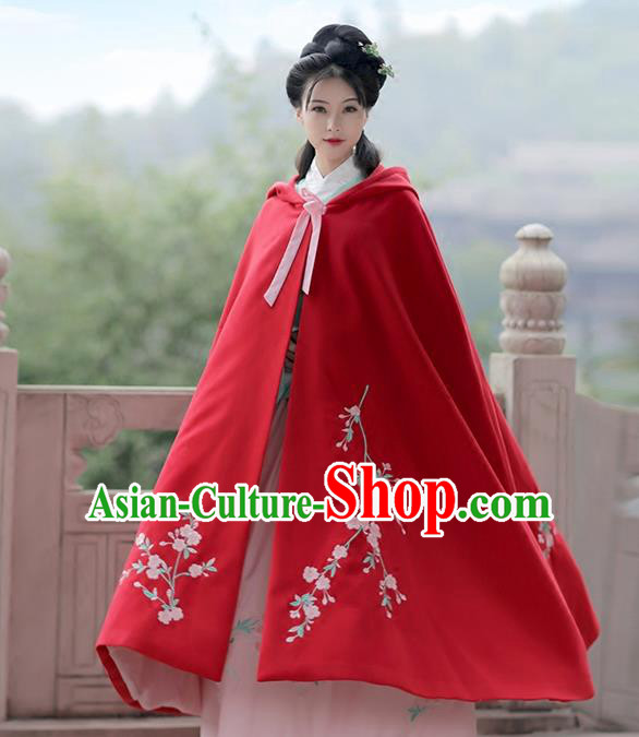 Asian Chinese Ming Dynasty Princess Costume Embroidery Red Cloak, Ancient China Palace Lady Embroidered Mantle for Women