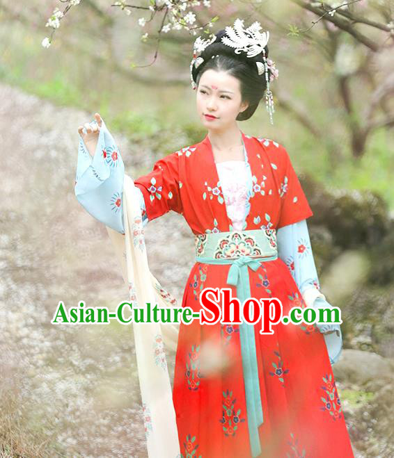 Traditional Chinese Ancient Hanfu Costume Red Blouse and Skirts Complete Set, Asian China Tang Dynasty Princess Embroidered Clothing for Women